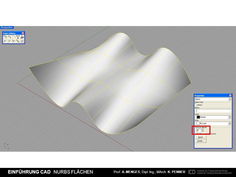 [Density 1] Eine isoparametrische Kurve auf knotenfreien Segmenten oder einfach die isoparametrische Knotenkurve.